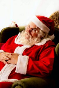 woman in red and white santa costume